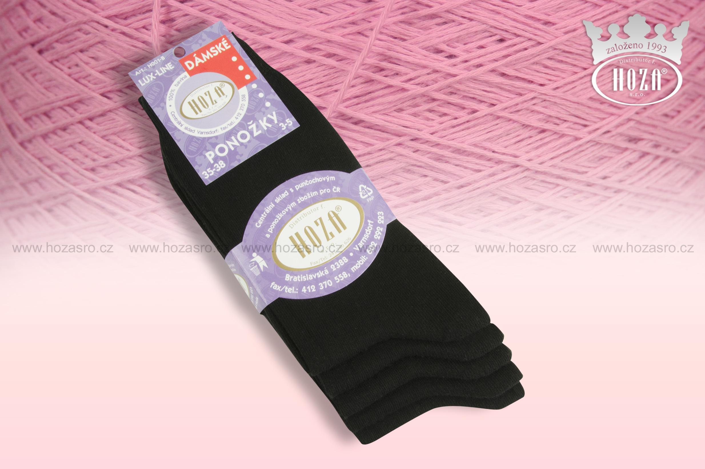 Dámské ponožky hladké, 100% bavlna - černé - H001-B