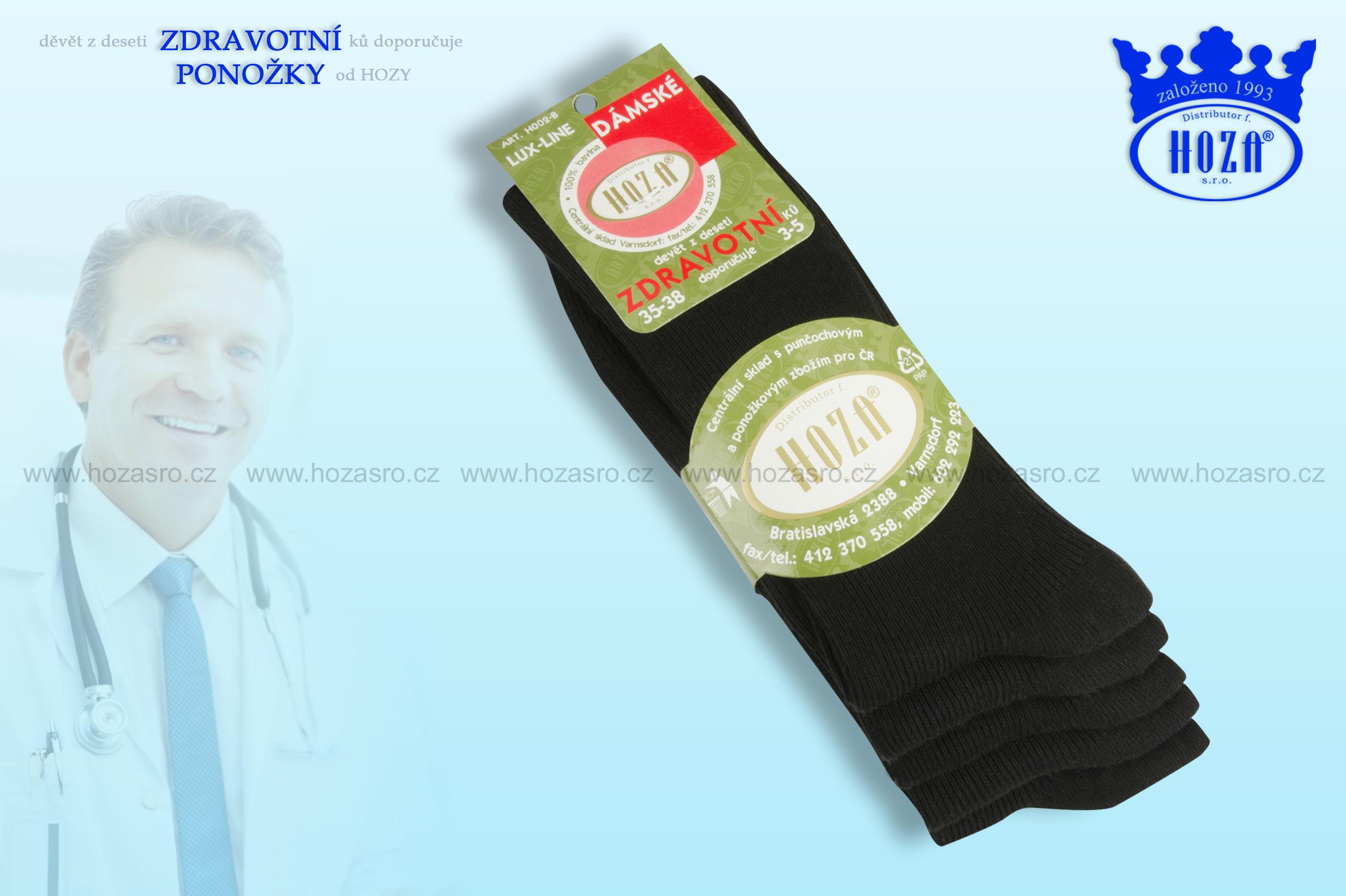 Dámské ponožky zdravotní, 100% bavlna - černé mix - H002-B