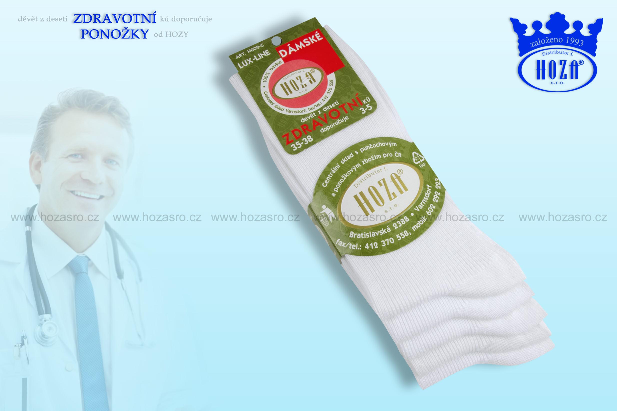 Dámské ponožky zdravotní, 100% bavlna - bílé mix - H002-C