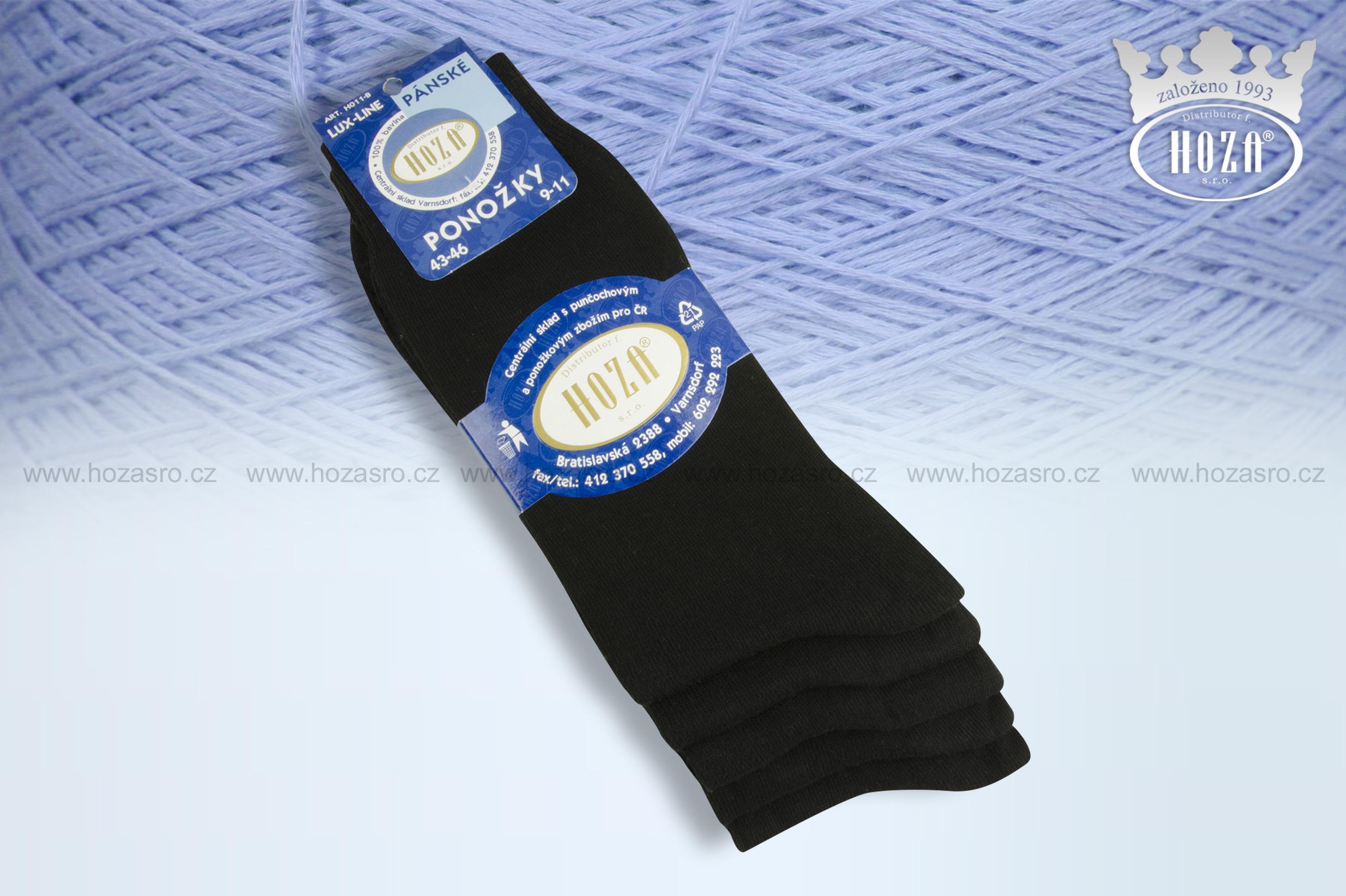Pánské ponožky hladké, 100% bavlna - černé - H011-B