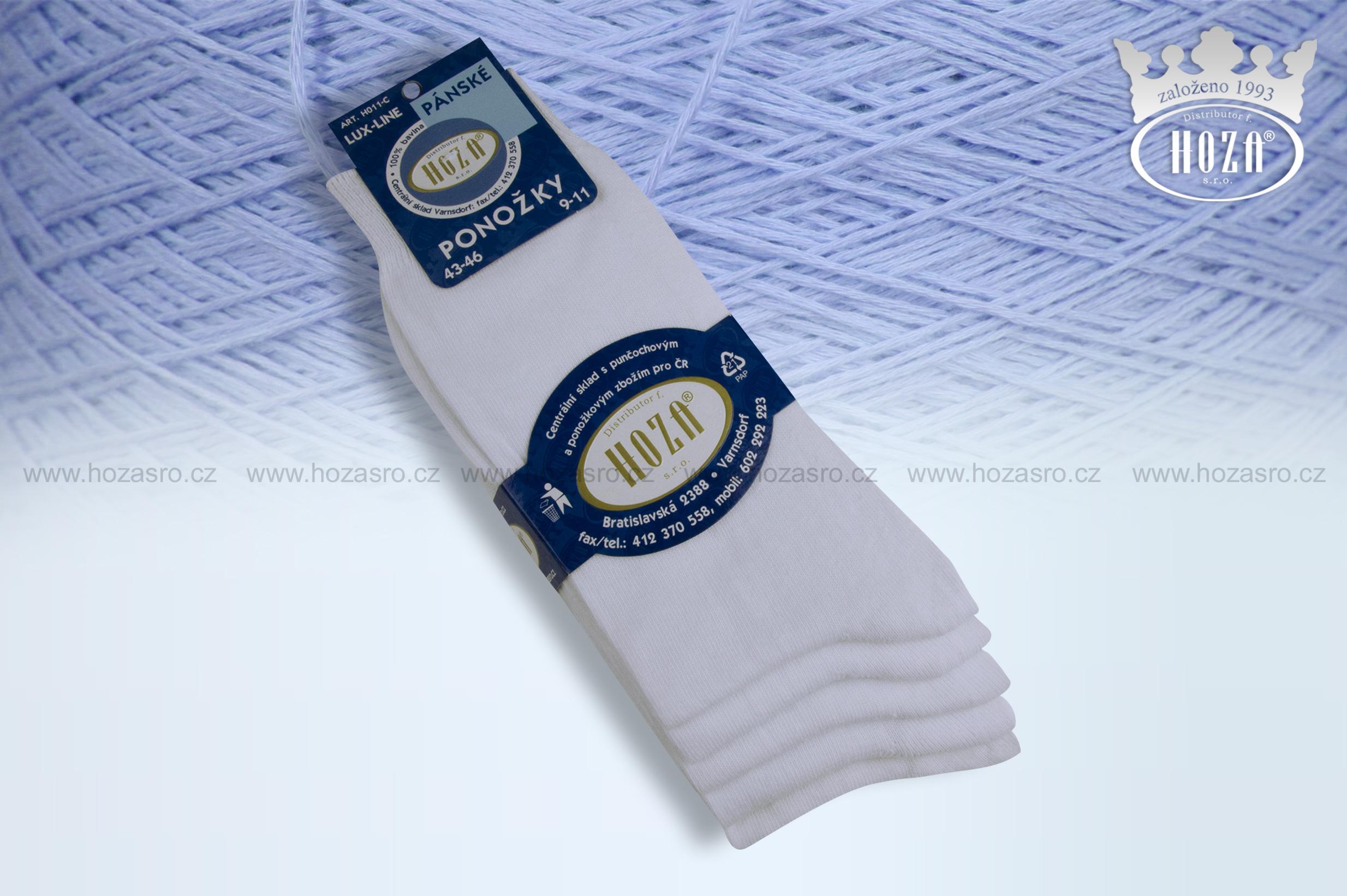 Pánské ponožky hladké, 100% bavlna - bílé - H011-C
