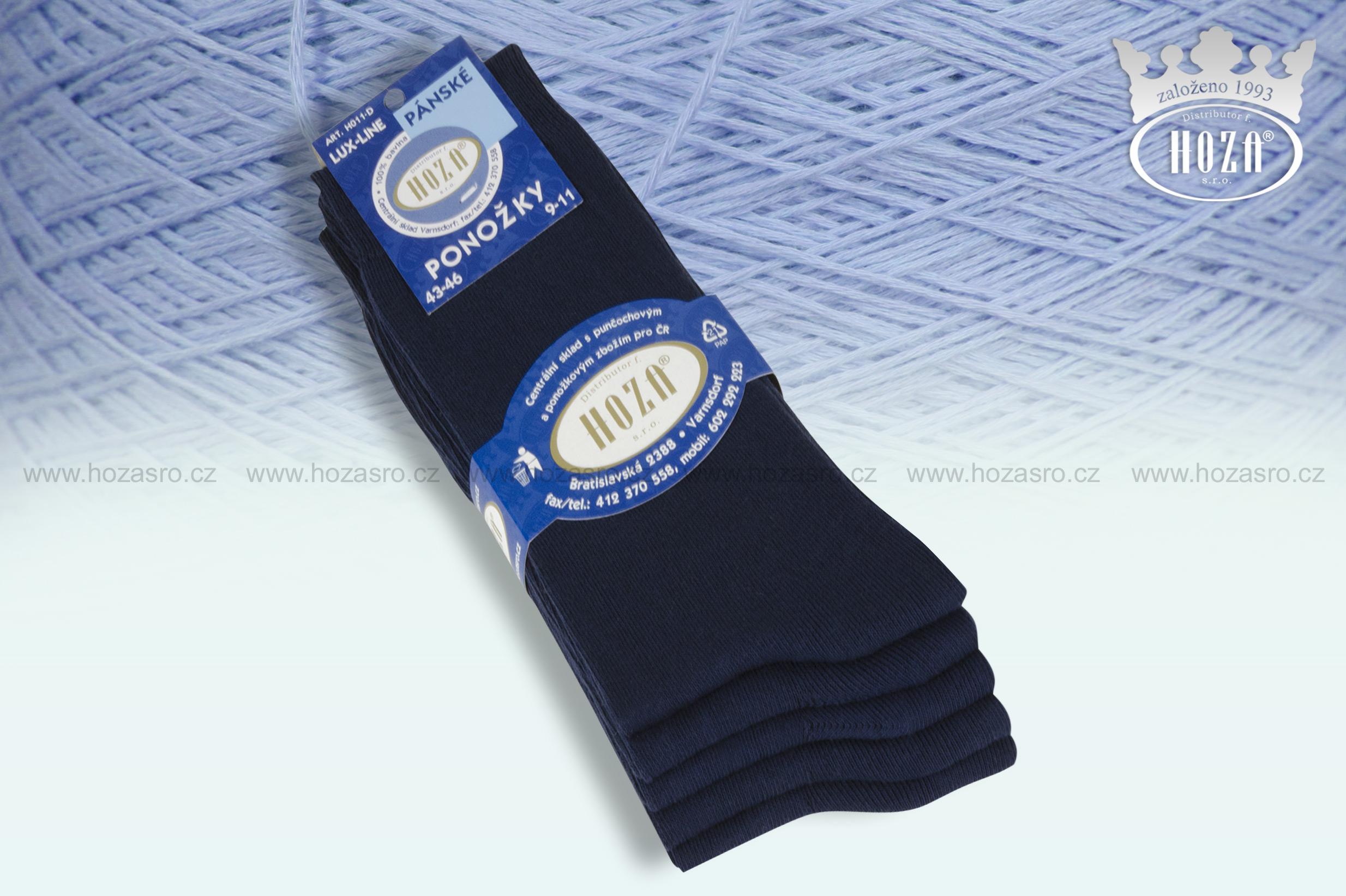 Pánské ponožky hladké, 100% bavlna - tm. modrý mix - H011-D