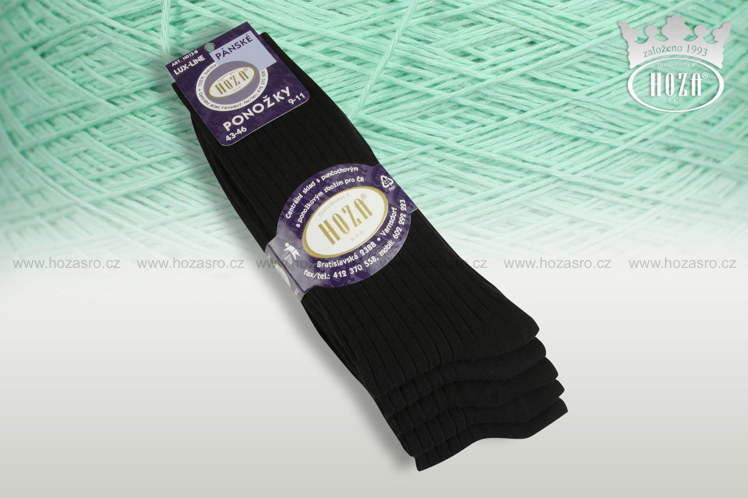Pánské ponožky žebrované 5/2, 100% bavlna - černé mix - H013-B