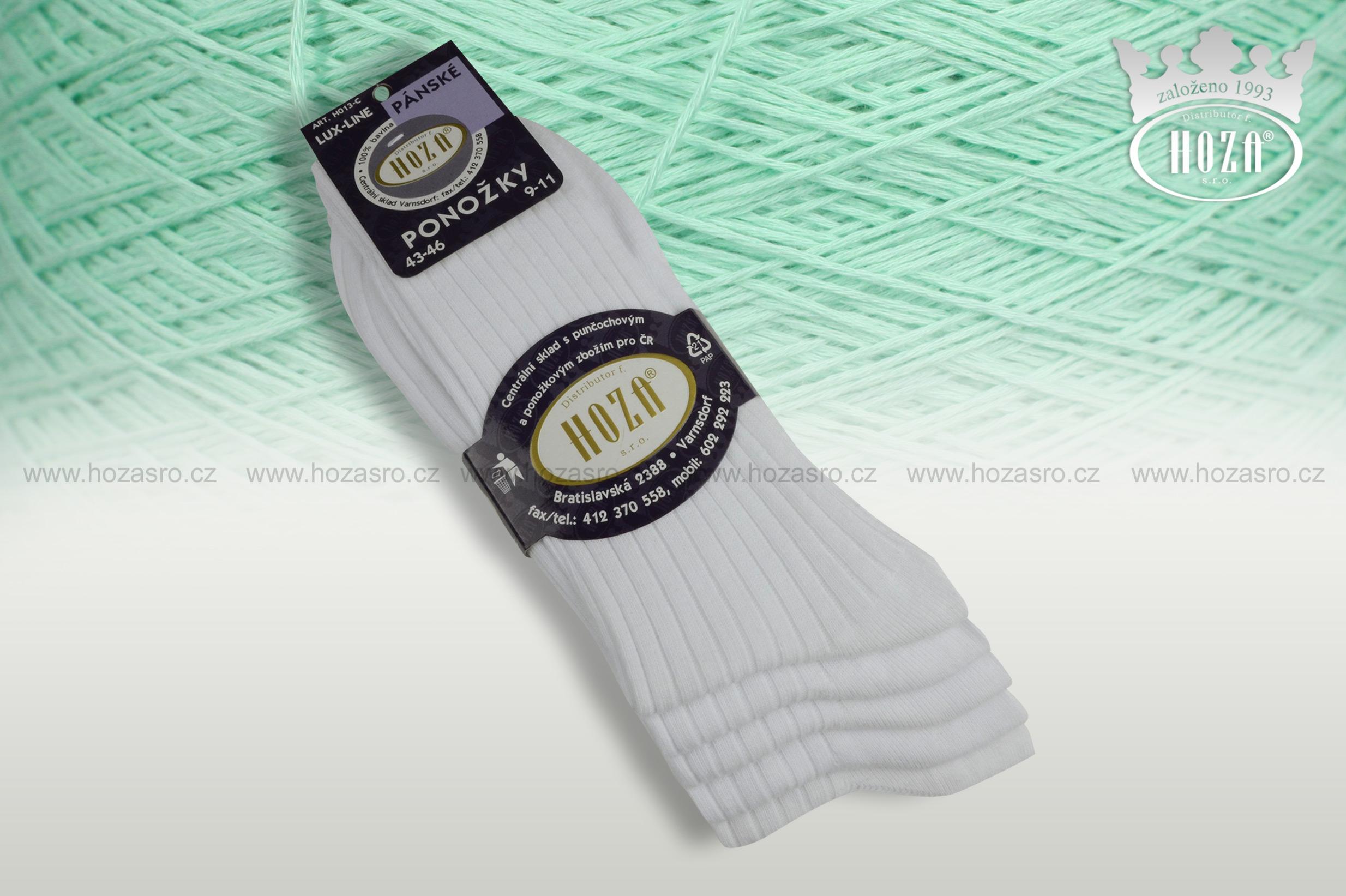 Pánské ponožky žebrované 5/2, 100% bavlna - bílé mix - H013-C