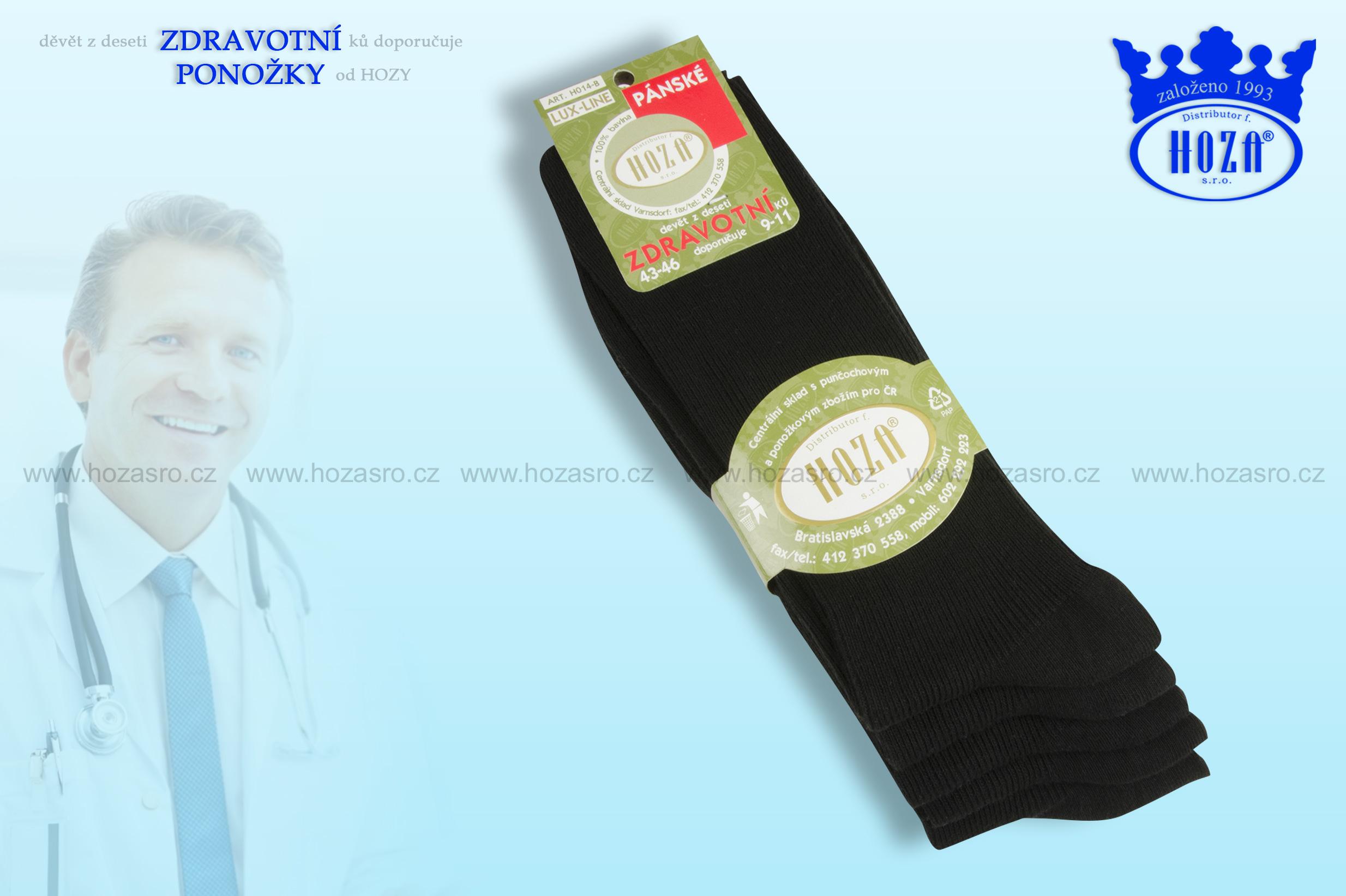 Pánské ponožky zdravotní, 100% bavlna - černé - H014-B