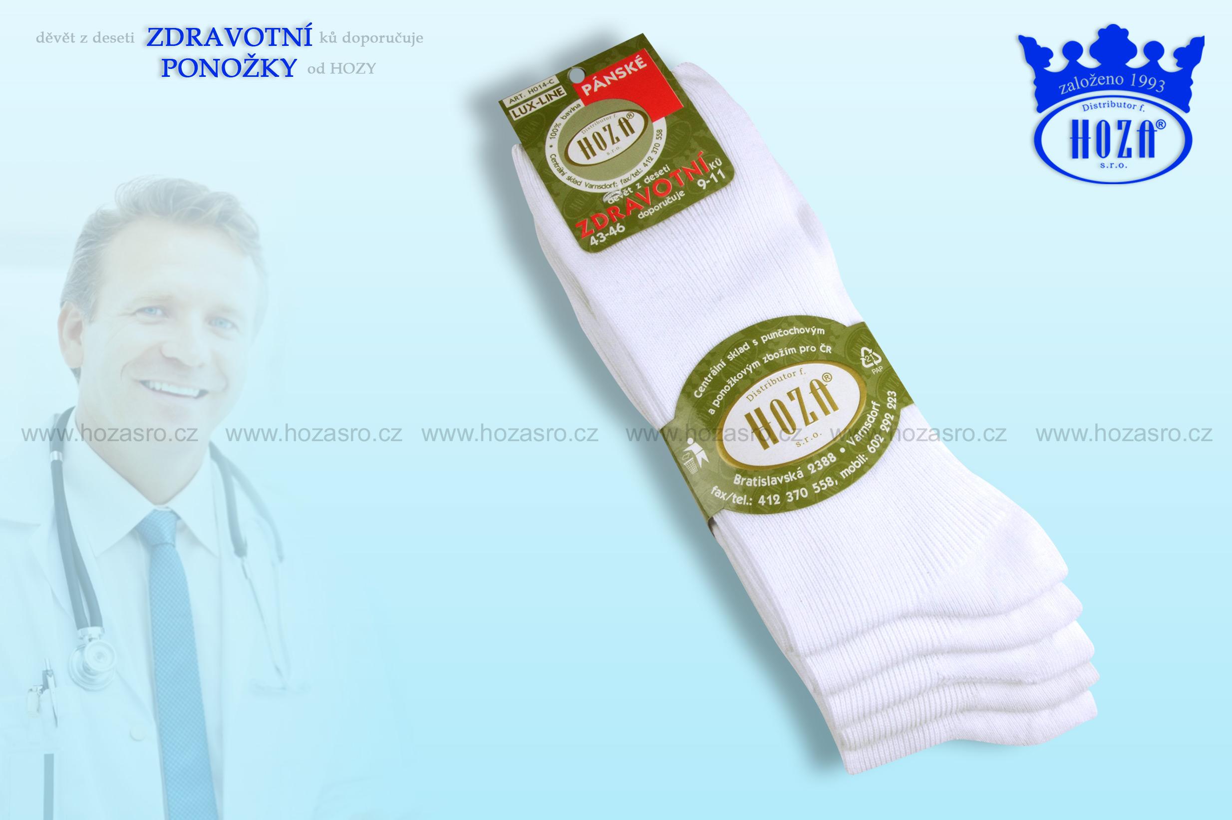 Pánské ponožky zdravotní, 100% bavlna - bílé - H014-C