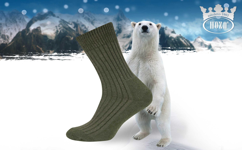 Pánské zimní ponožky HOZA Sibiř - vojenské - H020-A