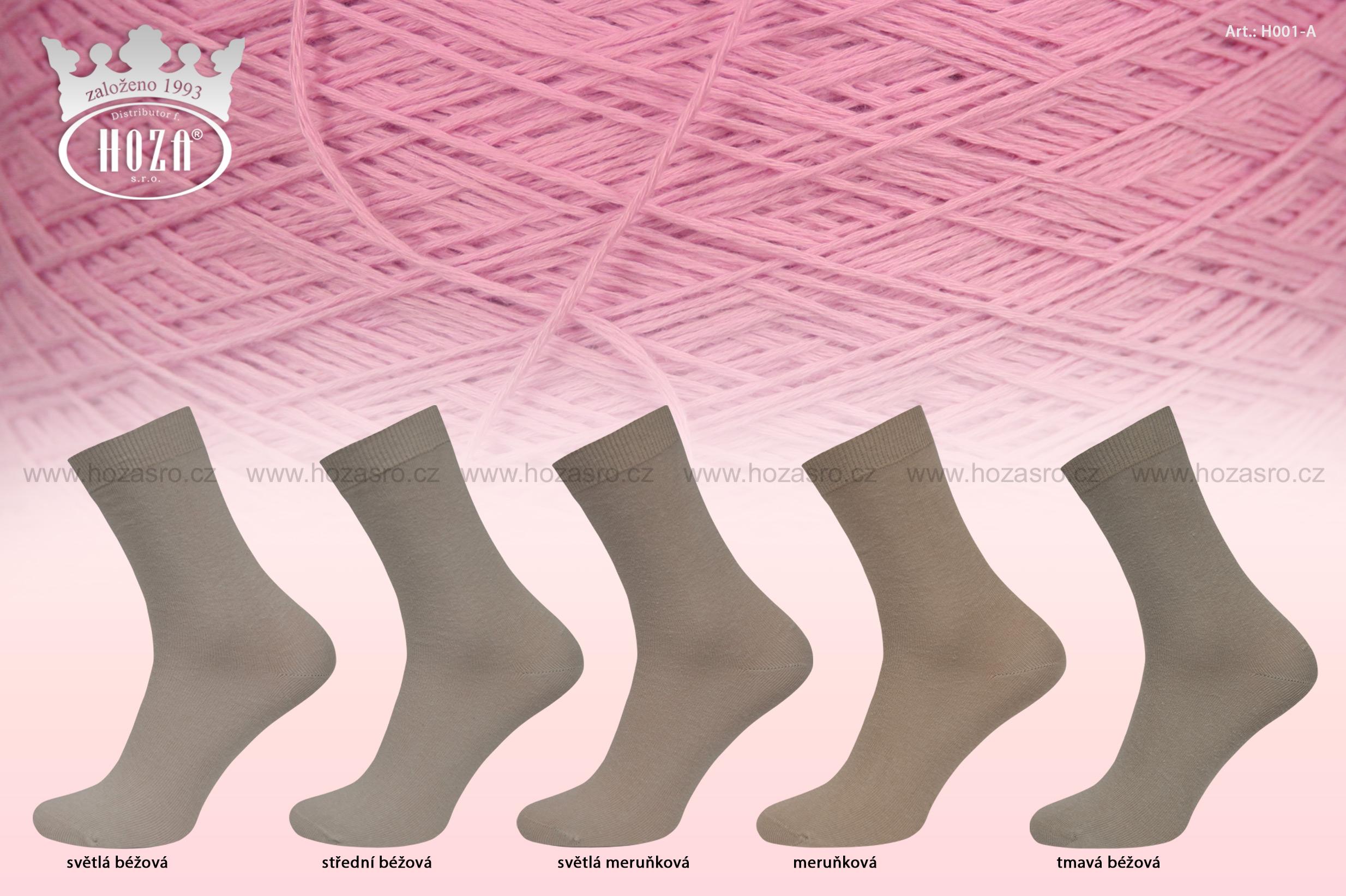 Dámské ponožky hladké, 100% bavlna - hnědý mix - H001-A