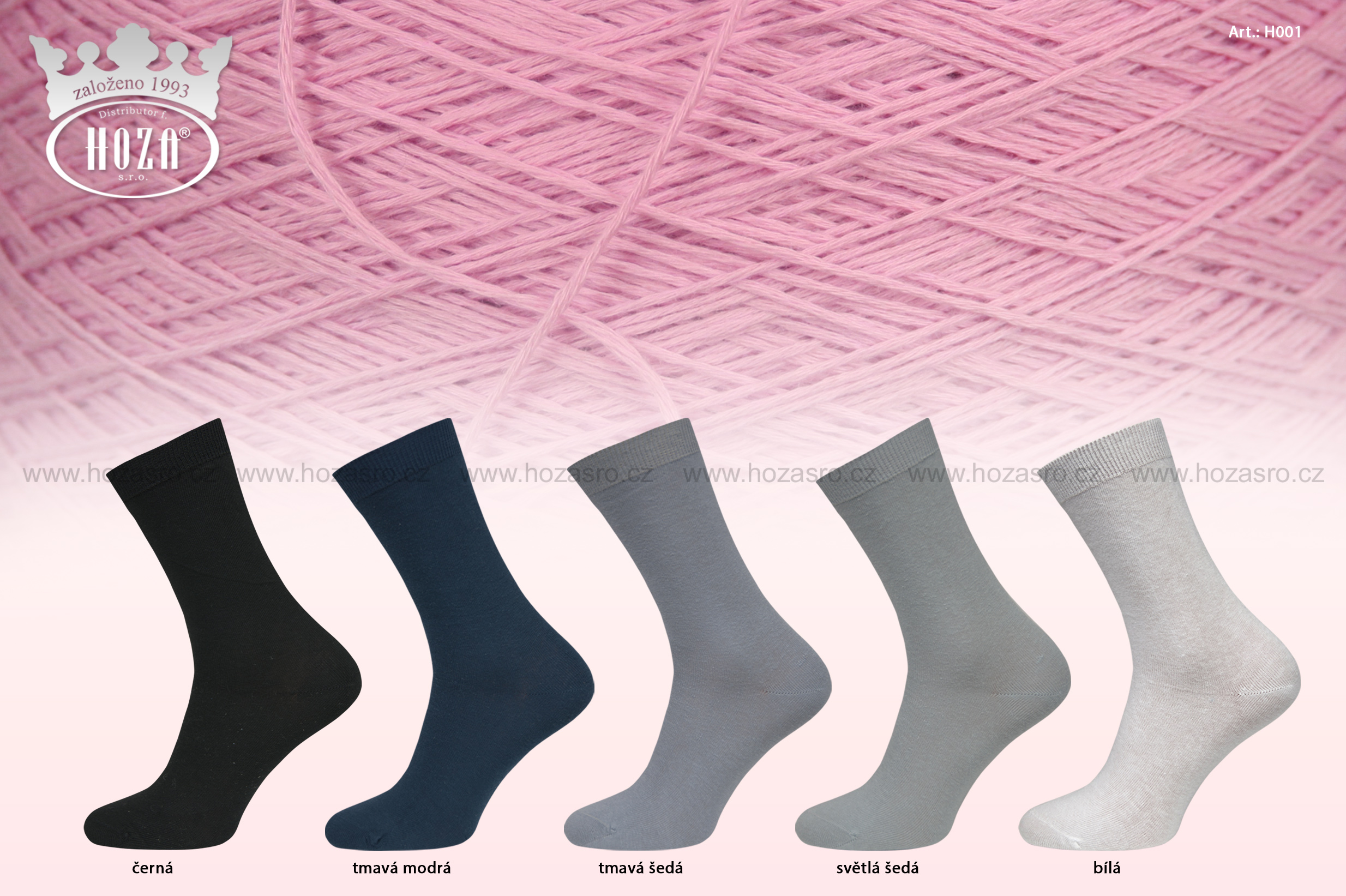 Dámské ponožky HOZA hladké, 100% bavlna - tmavý mix - H001