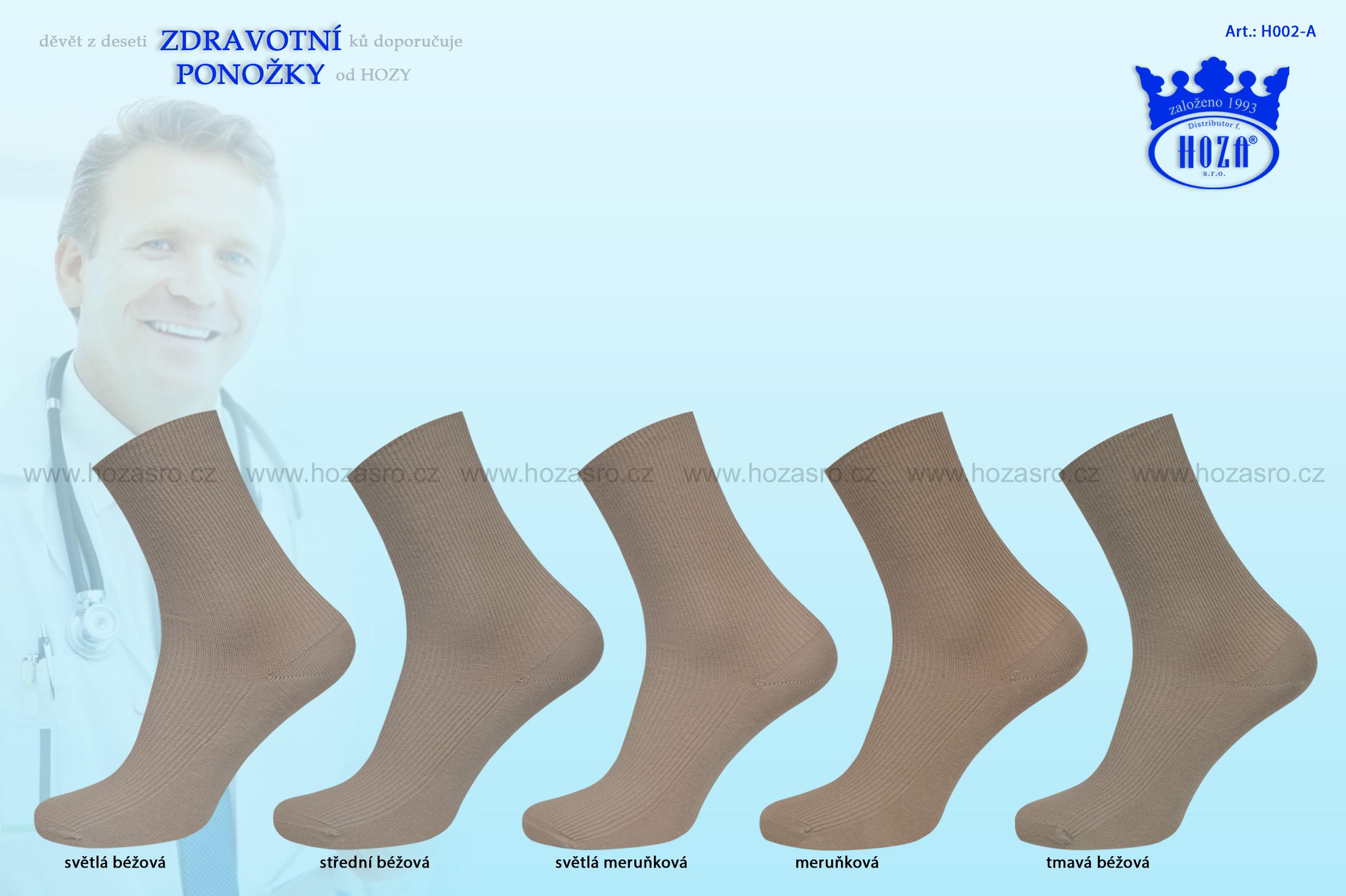 Dámské ponožky zdravotní, 100% bavlna - hnědý mix - H002-A