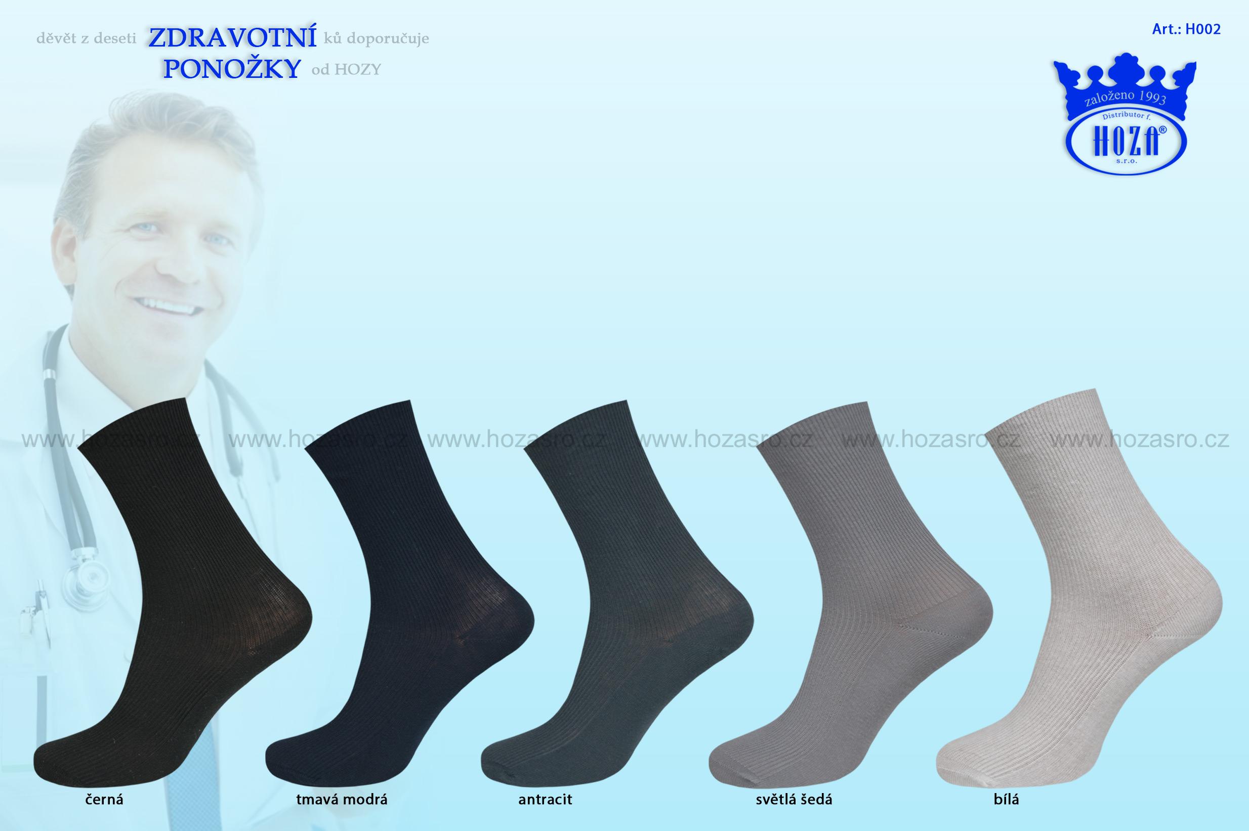 Dámské ponožky HOZA zdravotní, 100% bavlna - tmavé - H002
