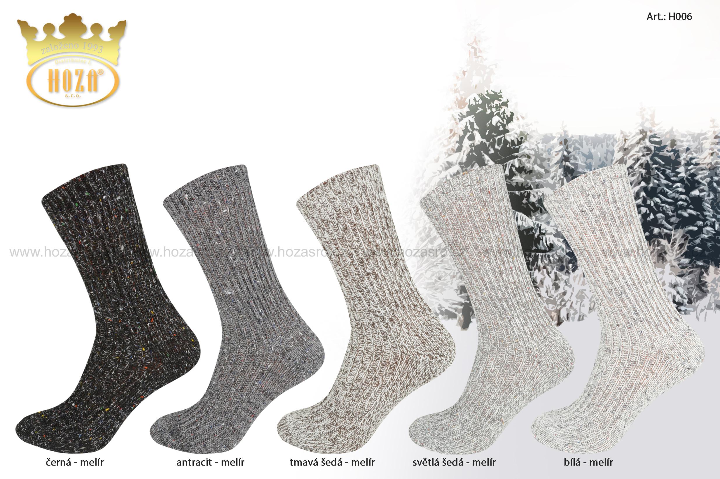 Dámské zimní ponožky HOZA Lída - melír mix - H006