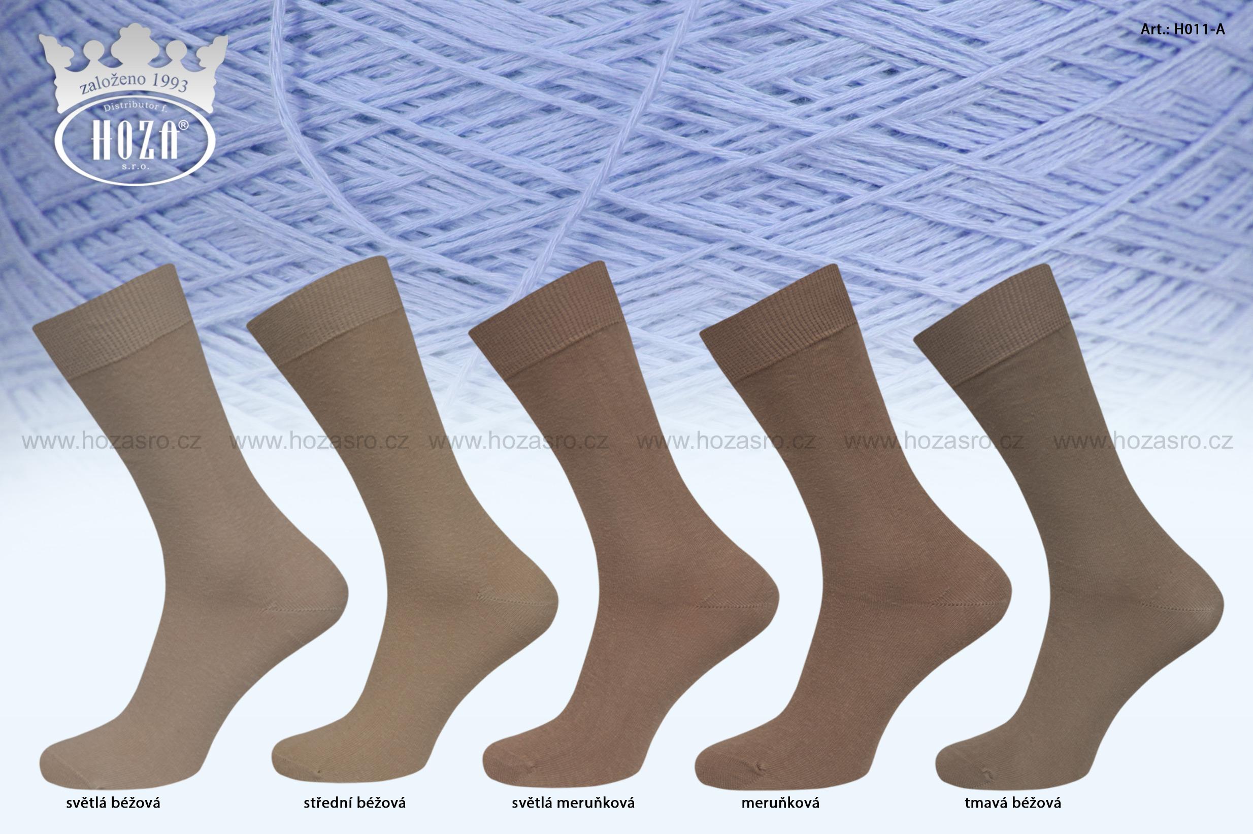 Pánské ponožky hladké, 100% bavlna - hnědý mix - H011-A