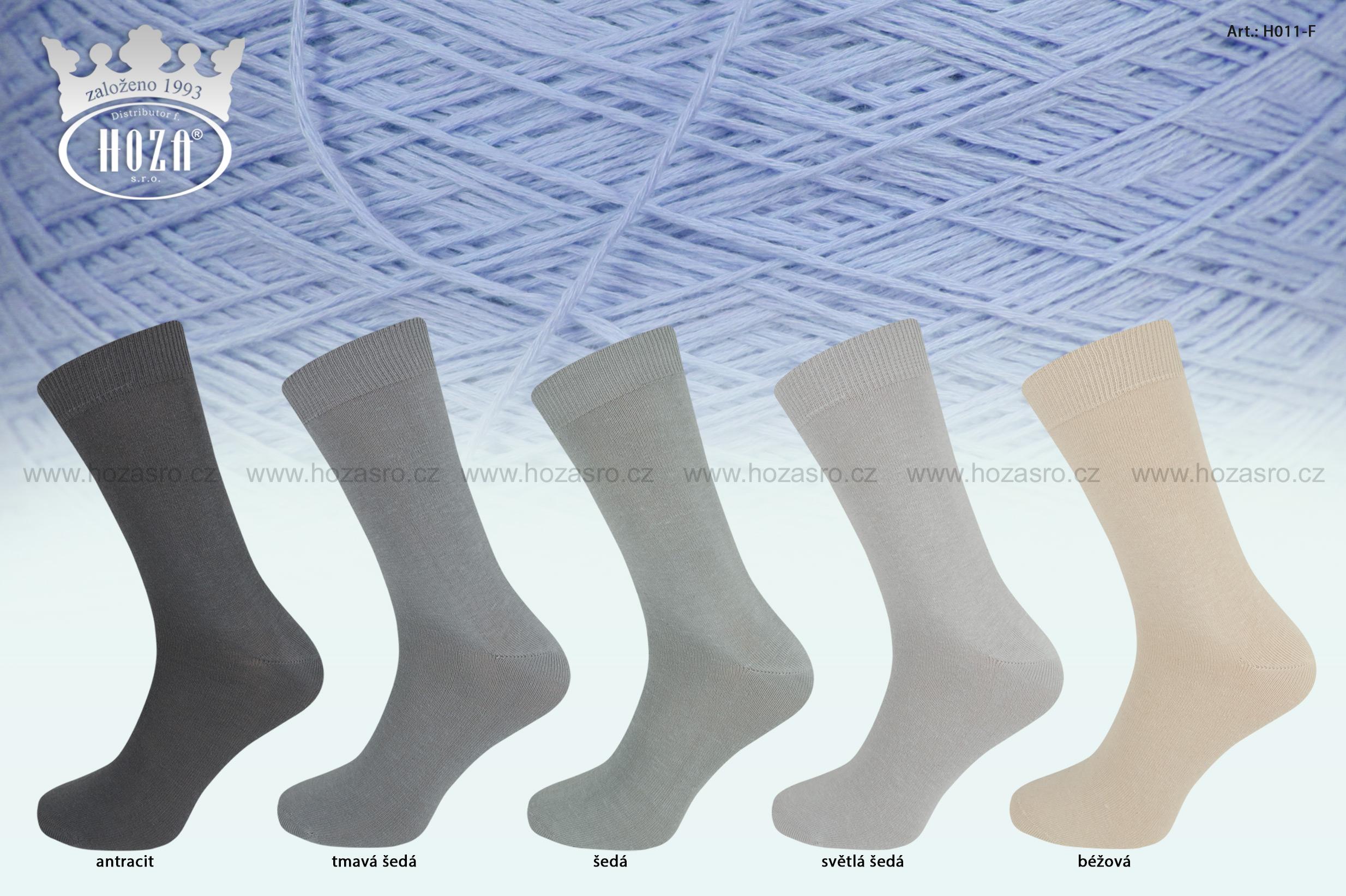 Pánské ponožky hladké, 100% bavlna - šedý mix - H011-F