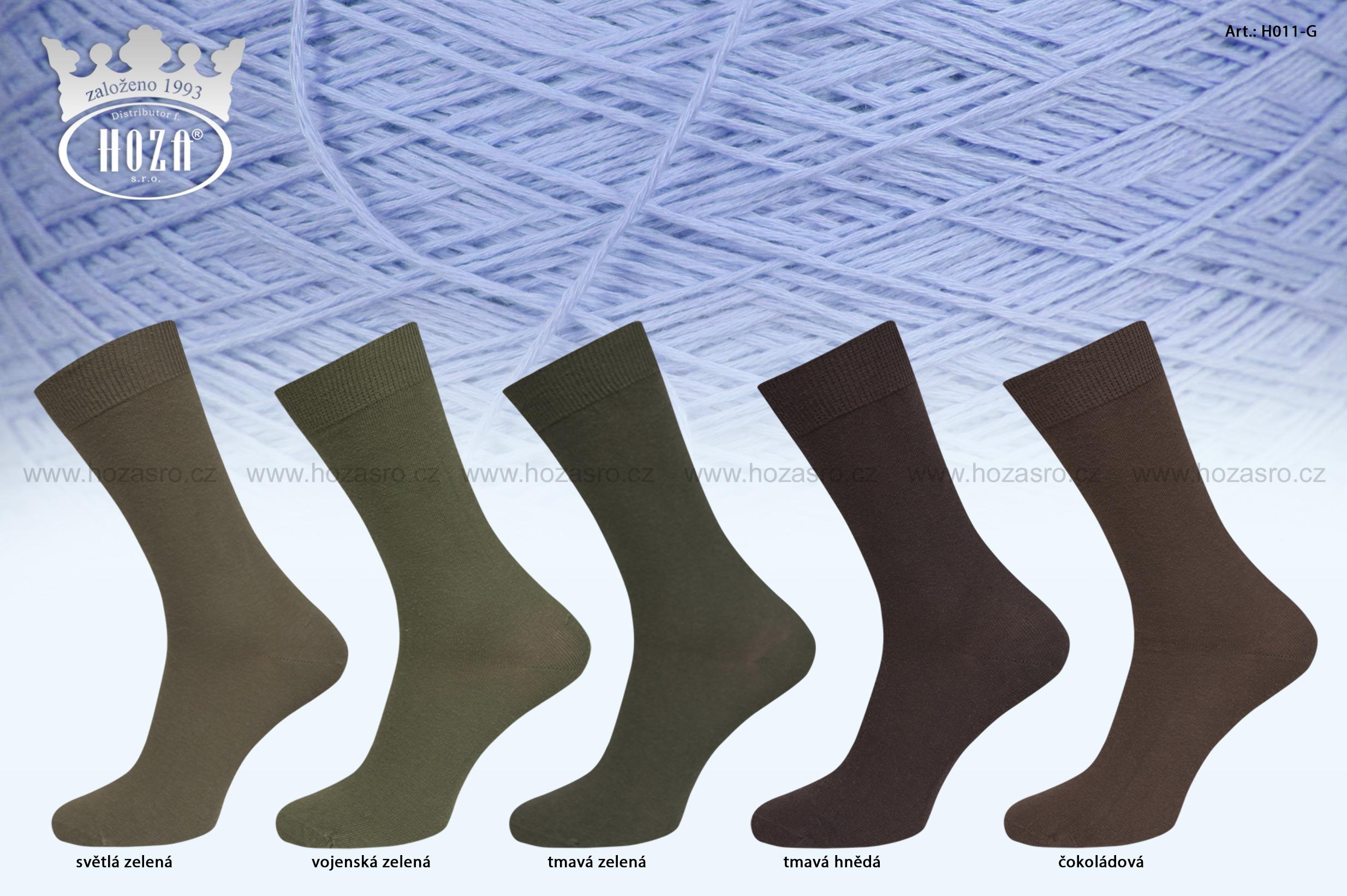 Pánské ponožky hladké, 100% bavlna -zelený mix - H011-G