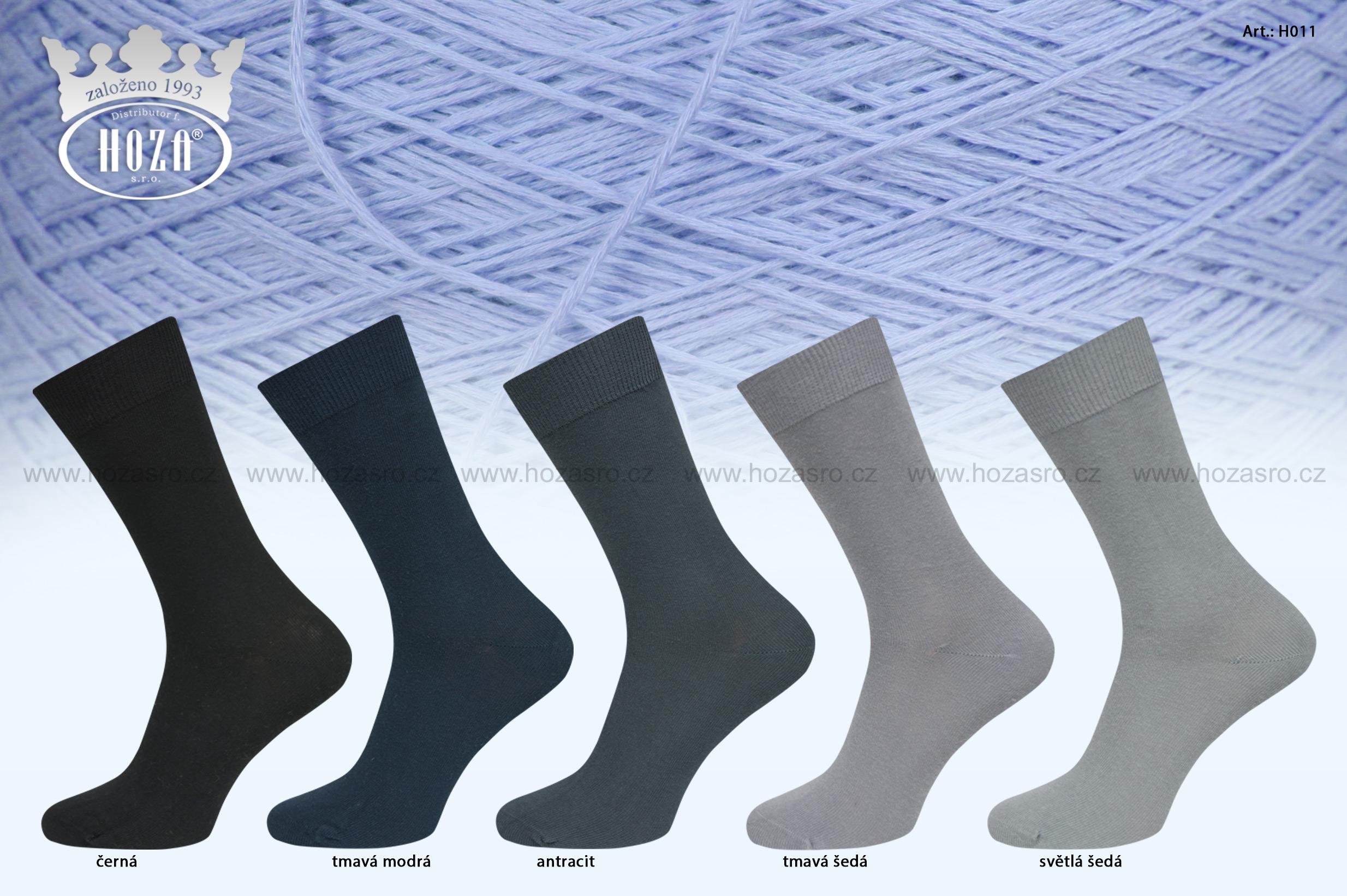 Pánské ponožky HOZA hladké, 100% bavlna - tmavý mix - H011