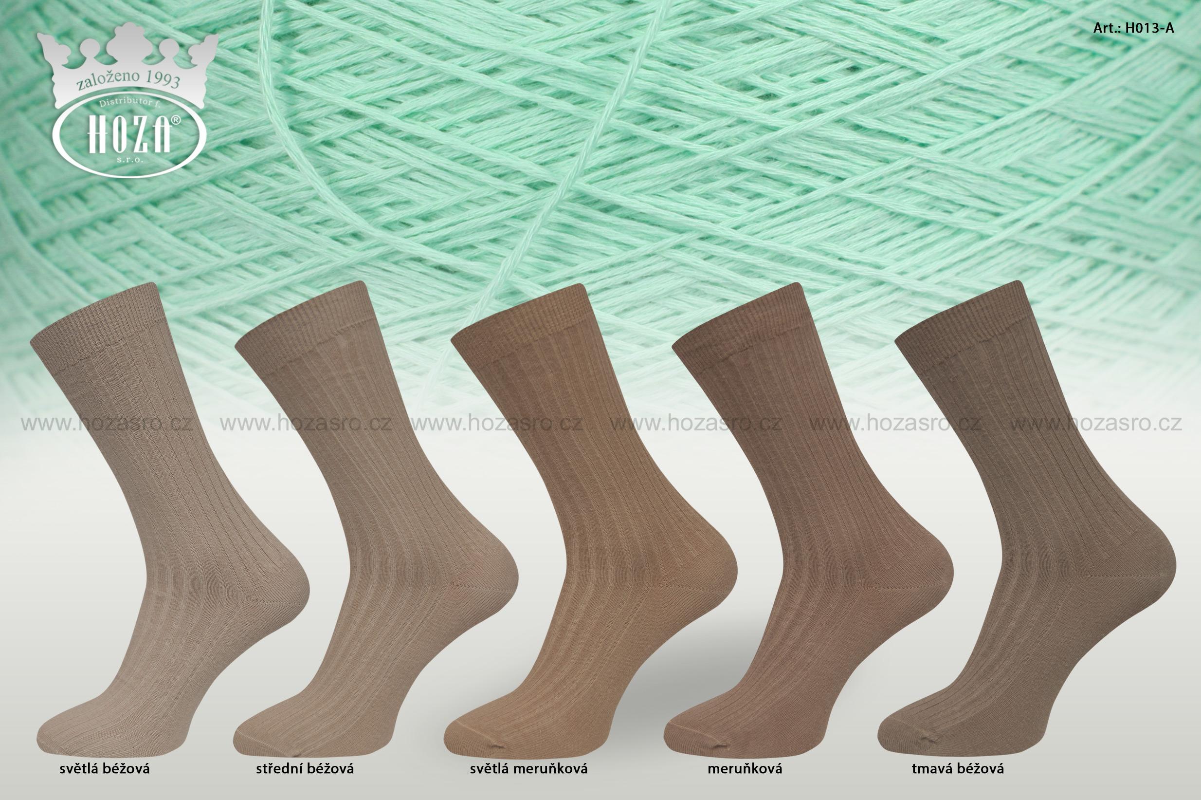 Pánské ponožky žebrované 5/2,100% bavlna - hnědý mix - H013-A