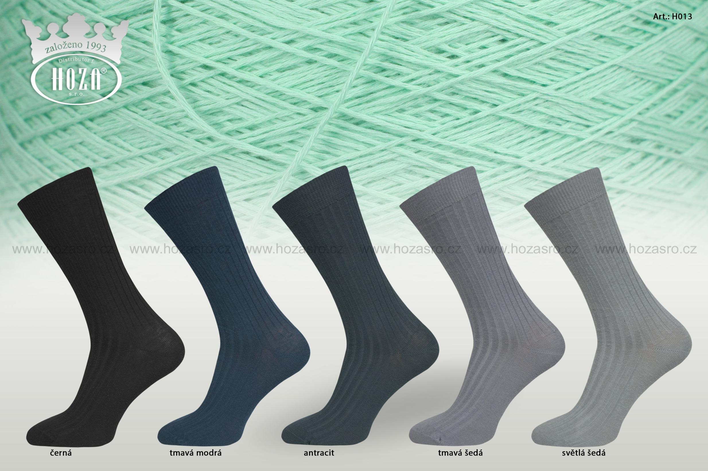 Pánské ponožky HOZA žebrované 5/2, 100% bavlna - tmavé - H013
