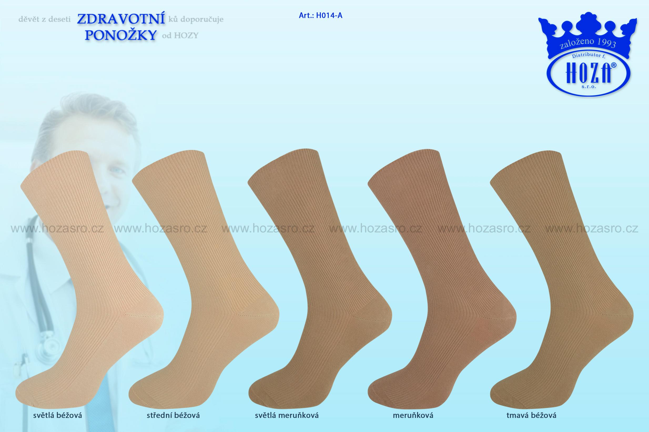 Pánské ponožky zdravotní, 100% bavlna - hnědý mix - H014-A