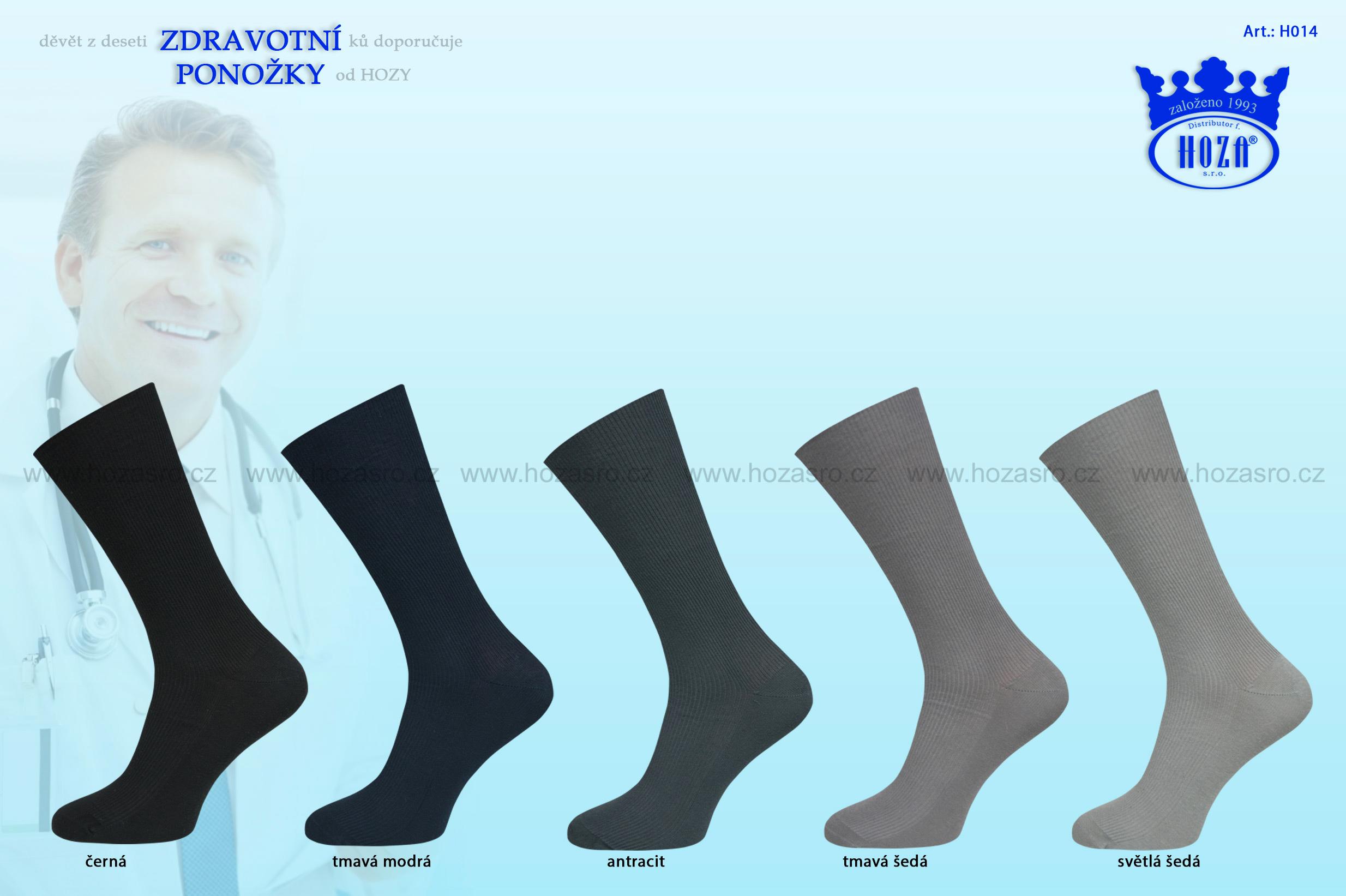 Pánské ponožky zdravotní, 100% bavlna - tmavý mix - H014
