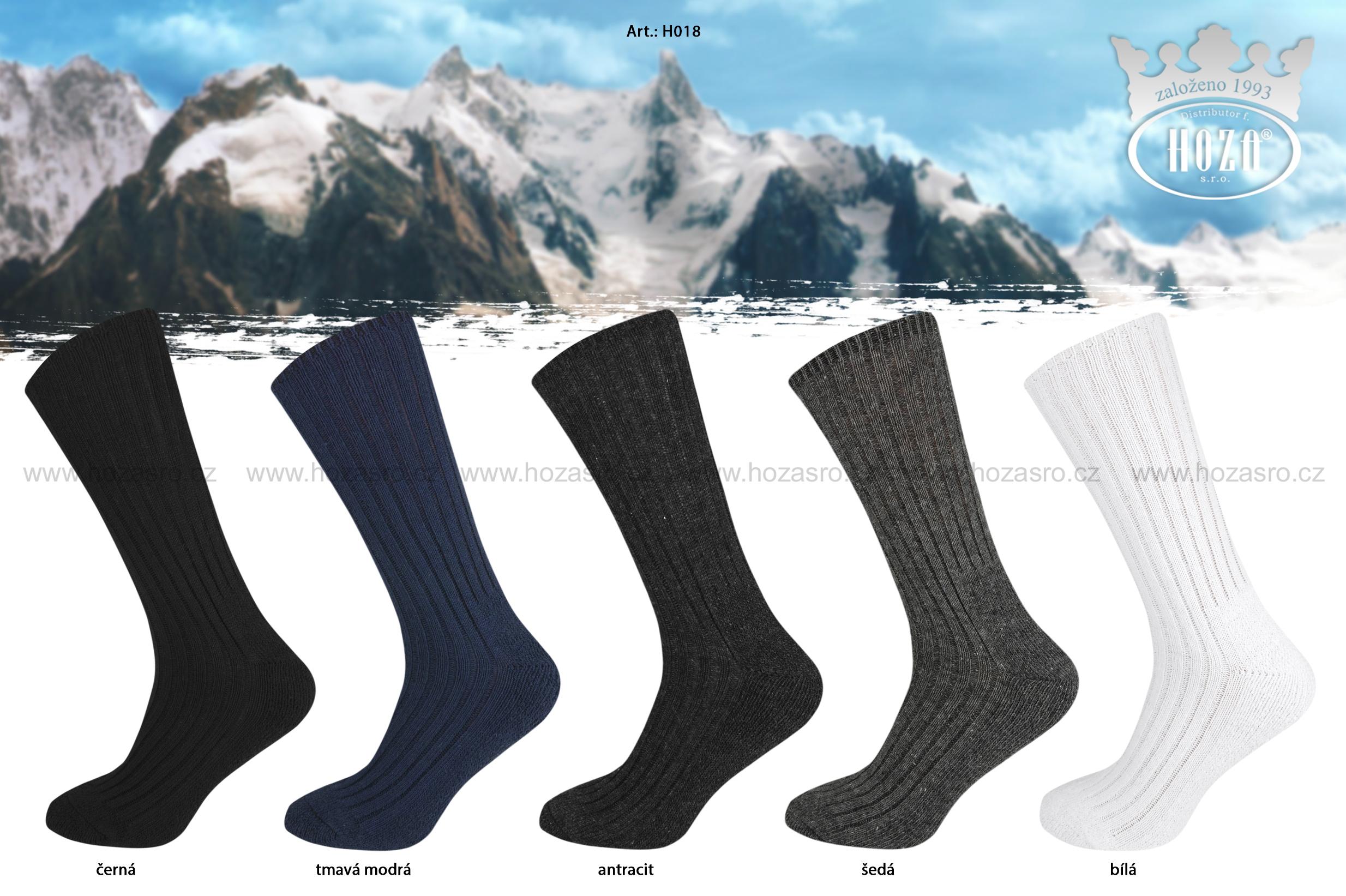 Pánské a dámské zimní ponožky HOZA Sibiř - jednobarevné - H018