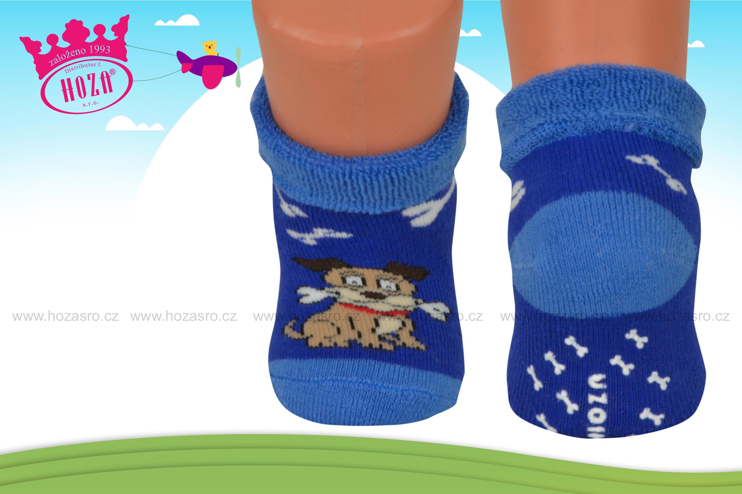 Kojenecké ponožky FROTÉ- pejsek s ABS - H252