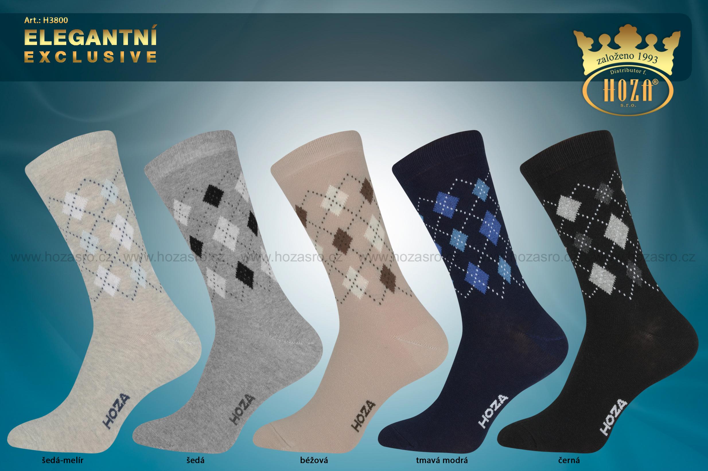 Pánské elegantní HOZA ponožky vyšší s elastanem - káro - H3800