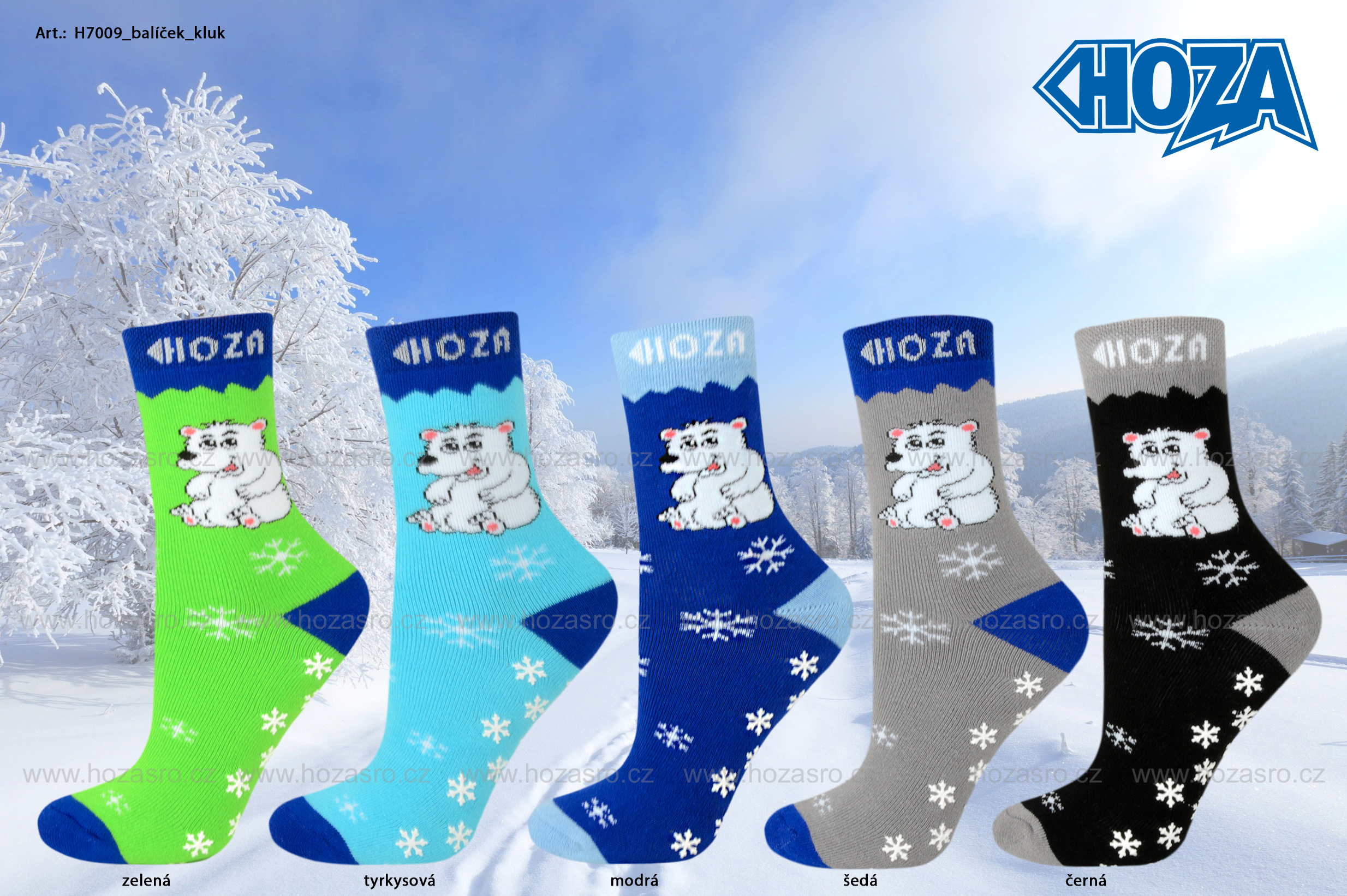 Dětské ponožky HOZA THERMO Froté - ABS medvídek - H7009